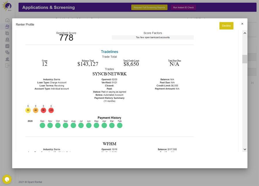 Tenant Credit Report Screenshot