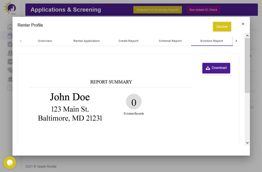 eviction report screenshot