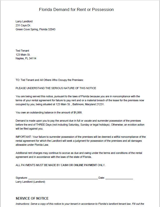 sample of eviction letter